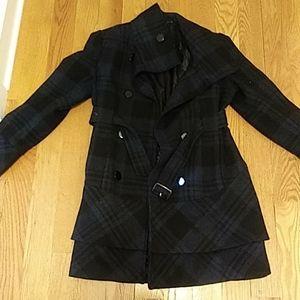 Long plaid dress coat